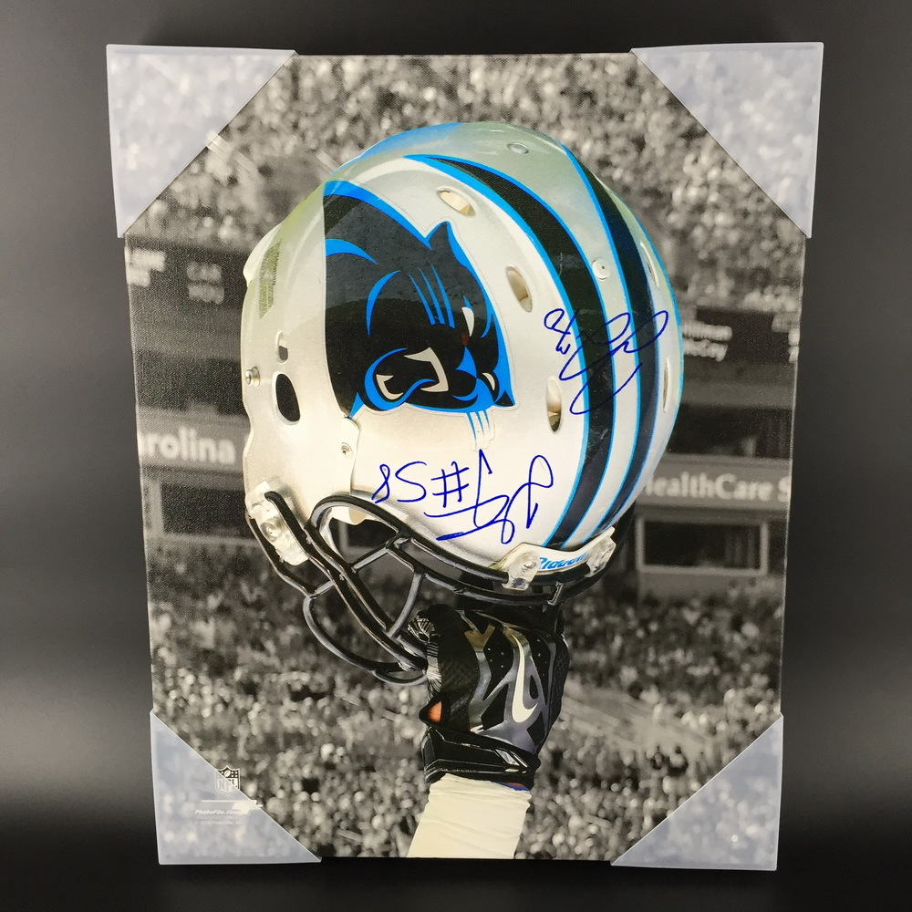 NFL - PANTHERS 16X20 CANVAS PRINT SIGNED BY THOMAS DAVIS AND TRAI TURNER