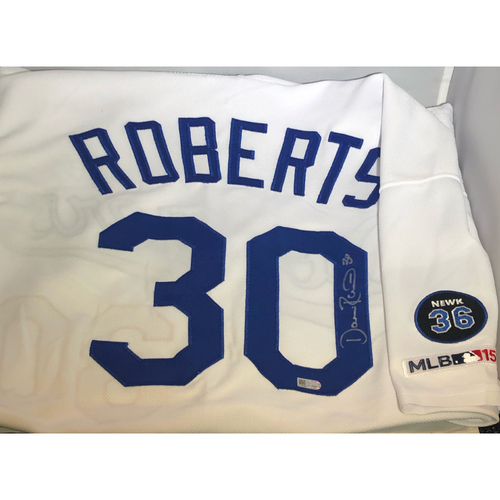 Photo of Dave Roberts Authentic Autographed Los Angeles Dodgers Jersey - Newcombe Patch - Size 48
