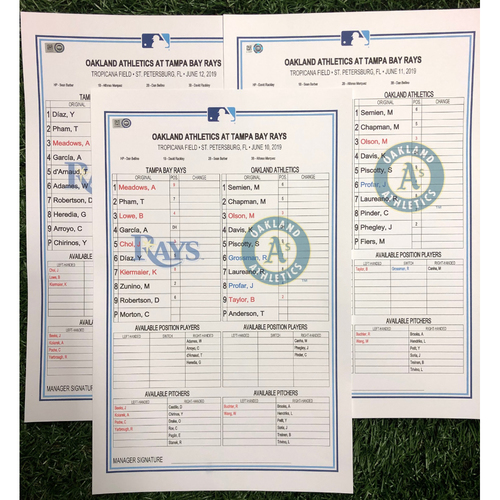 Photo of Replica LineUp Cards: June 10-12, 2019 v OAK