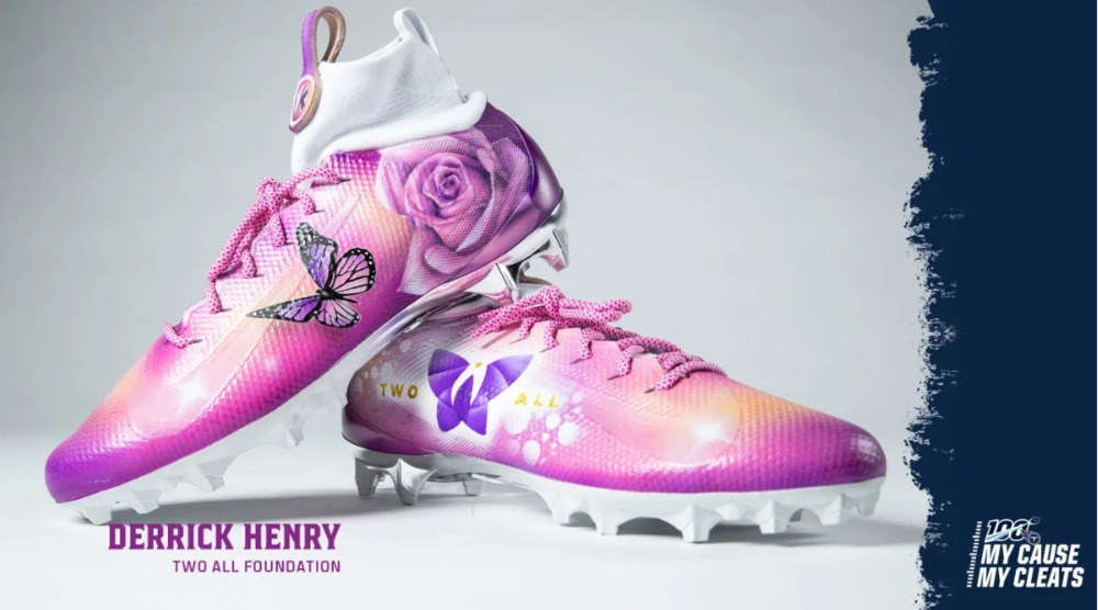 My Cause My Cleats -  Titans Derrick Henry custom cleats - supporting  Two All Foundation