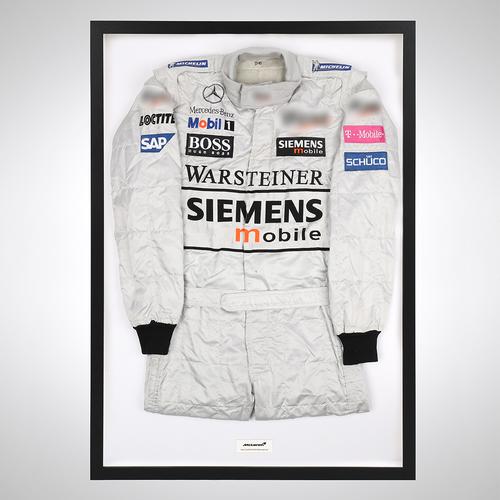 Photo of David Coulthard 2002 Framed Race-worn Suit - McLaren