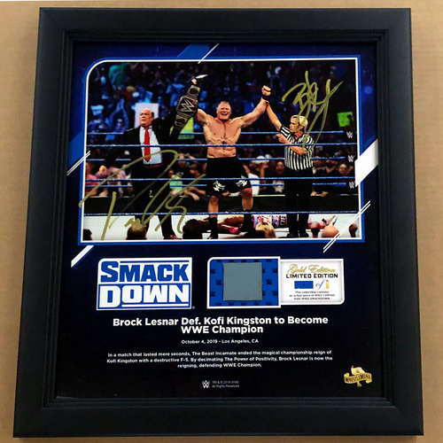 Photo of Brock Lesnar and Paul Heyman SIGNED SmackDown 2019 WrestleMania Gold Edition Ring Canvas Plaque (#1 of 1)
