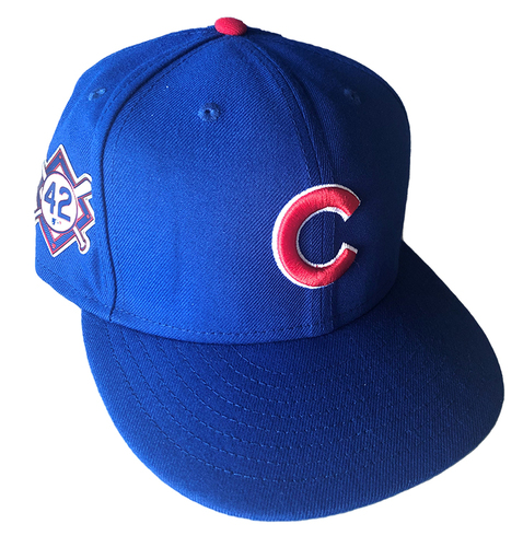 Photo of Kyle Hendricks Jackie Robinson Day Team-Issued Hat -- #28  -- Size 7 1/4