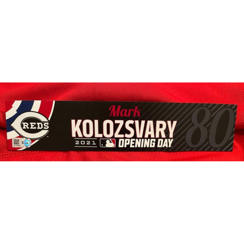 Photo of Mark Kolozsvary -- 2021 Opening Day Locker Tag -- Team-Issued -- Cardinals vs. Reds on 4/1/21