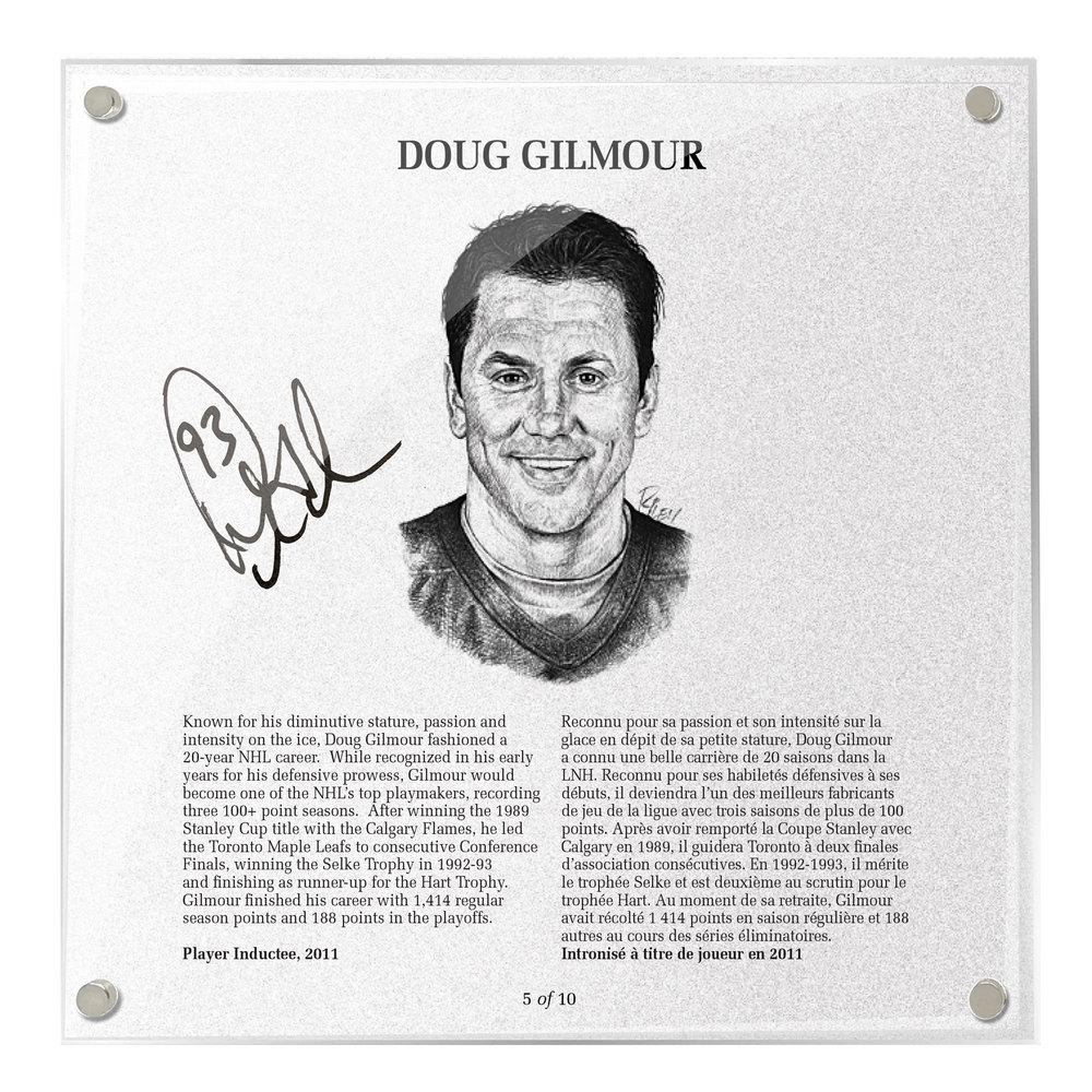 Doug Gilmour Autographed Legends Line Honoured Member Plaque - Limited Edition 9/10