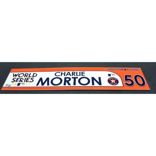 Photo of Game-Used Locker Name Plate - 2017 World Series Game 1 - Houston Astros vs. Los Angeles Dodgers - Charlie Morton (Houston Astros)