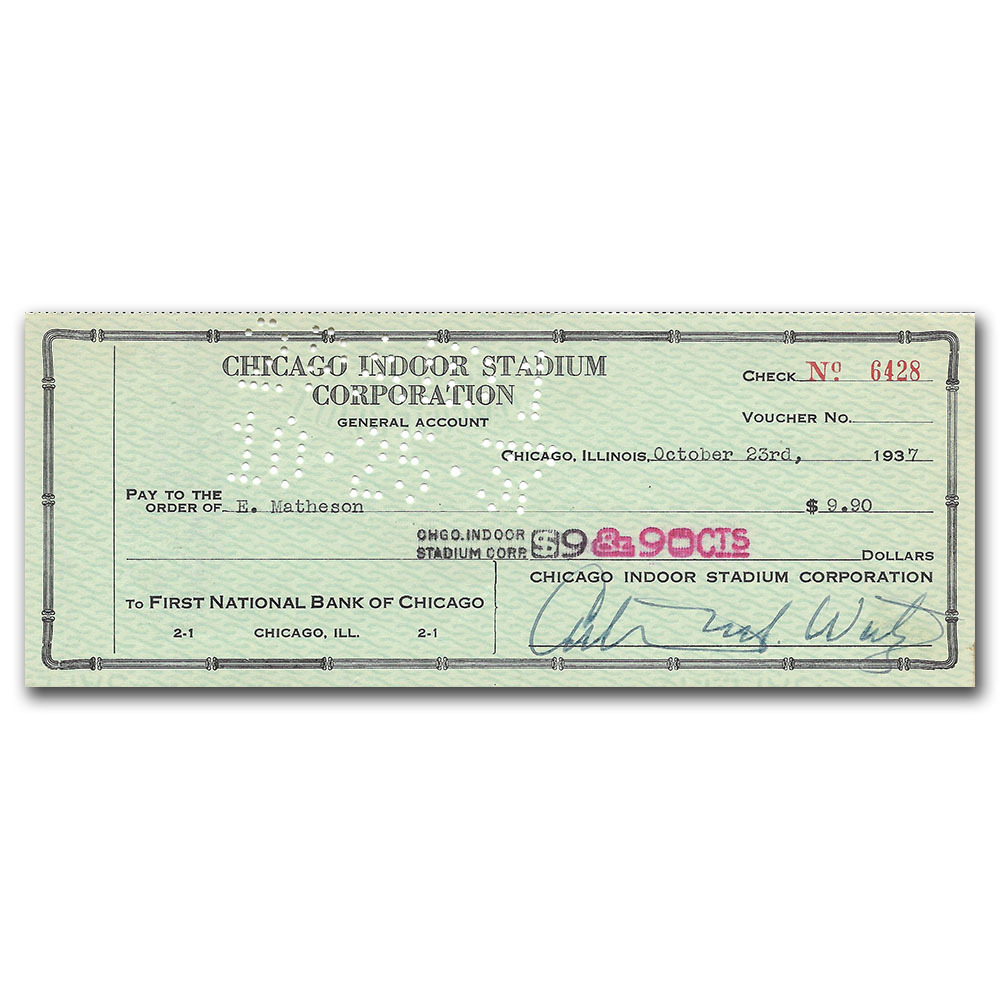 Arthur Wirtz (deceased) Signed Check from the 1930s