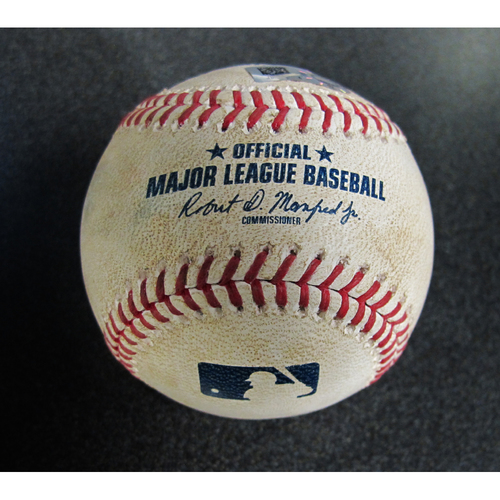 Photo of Game-Used Baseball Pitcher: Tyler Skaggs, Batter: Mitch Haniger (Double) /Robinson Cano (Doubles) 5-5-2018