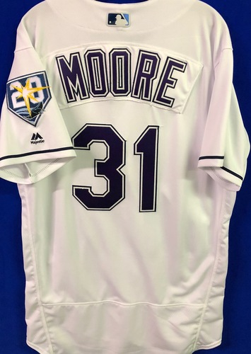 Photo of 20th Anniversary Game Used Devil Rays Jersey: Adam Moore - September 8 v BAL