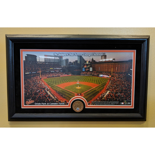 Photo of Oriole Park at Camden Yards Framed Canvas Featuring a Game-Used Dirt Coin.