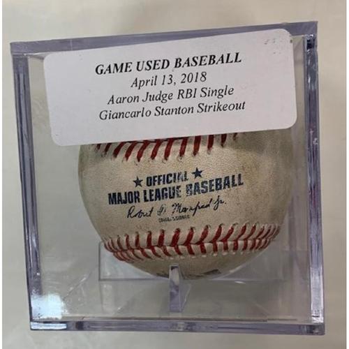 Photo of Game-Used Baseball: Aaron Judge RBI Single & Giancarlo Stanton Strikeout