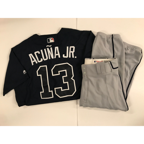 Photo of Ronald Acuna Jr. MLB Debut Game Used Jersey and Pants - First MLB Jersey Worn 4/25/18 (Jersey Worn Innings 1-4 on 4/25). Jersey also worn 4/26/18 during his First Career Home Run - 2018 NL Rookie of the Year