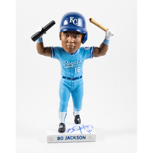 Royals Charities Autographed Bo Jackson Bat Break Bobblehead