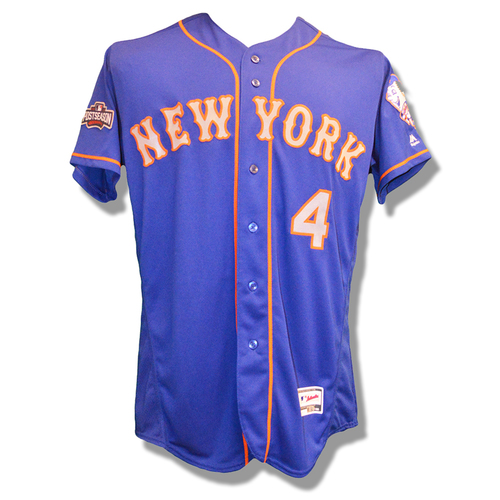 Photo of Wilmer Flores #4 - Team Issued Blue Alt. Road Jersey - 2016 Postseason