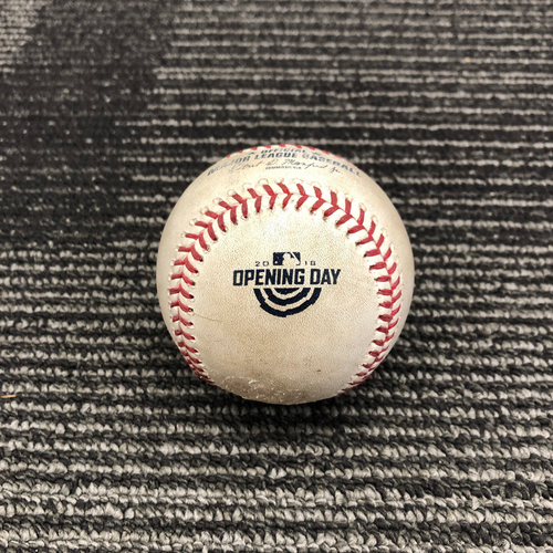 Photo of 2018 Game Used Opening Day Baseball used on 4/3 vs. Seattle Mariners - B-3: Ty Blach to Marco Gonzales - Ball 1