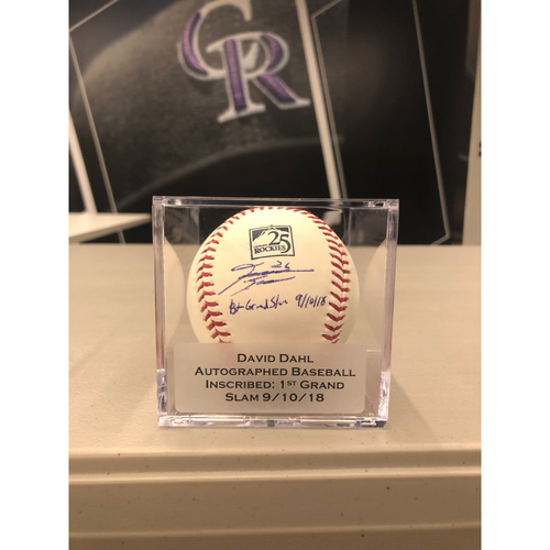 Colorado Rockies 25th Anniversary Autographed and Inscribed David Dahl Baseball (