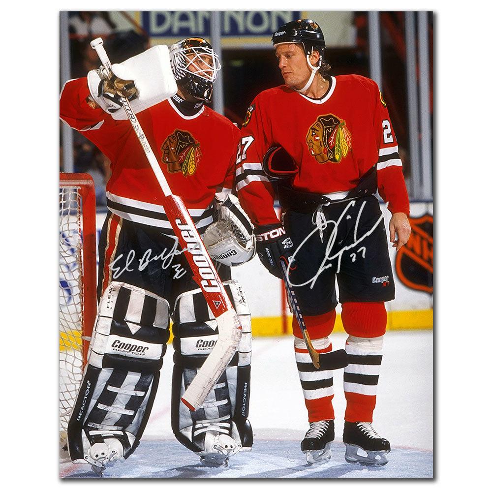 Ed Belfour & Jeremy Roenick Chicago Blackhawks Autographed 16x20
