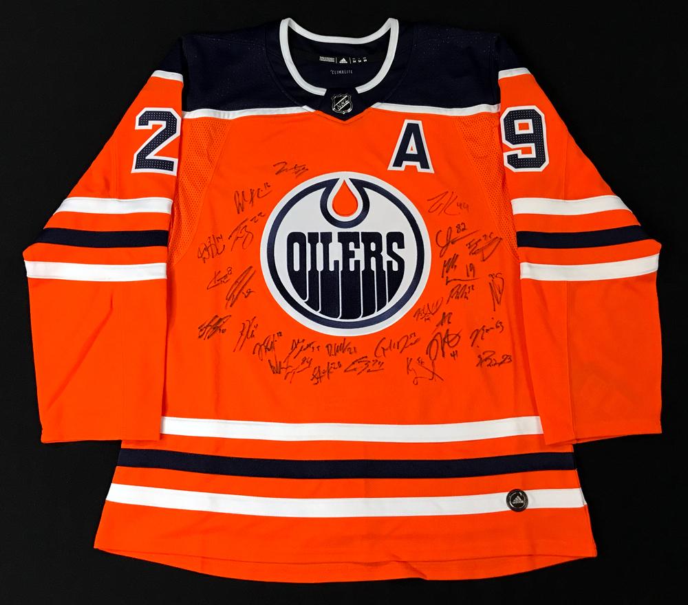 2020-21 Edmonton Oilers Team-Signed Orange Oilers Adidas Pro Authentic Jersey Crested To #29 Leon Draisaitl