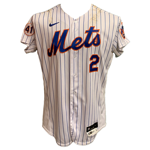 Photo of Dominic Smith #2 - Game Used White Pinstripe Jersey with Seaver Patch - 1-3, Walk-Off RBI Single in the 8th  - Mets vs. Phillies - 6/25/21