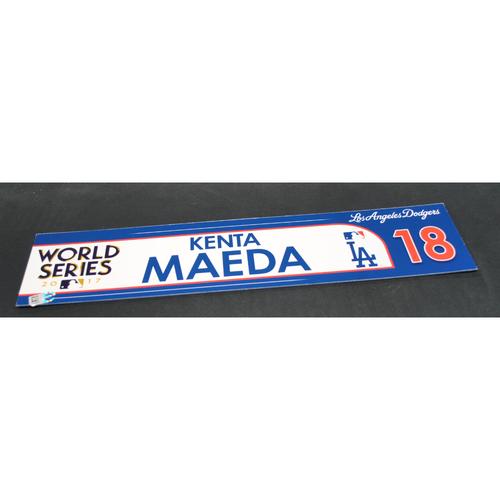 Photo of Game-Used Locker Name Plate - 2017 World Series Game 3 - Houston Astros vs. Los Angeles Dodgers - Kenta Maeda (Los Angeles Dodgers)