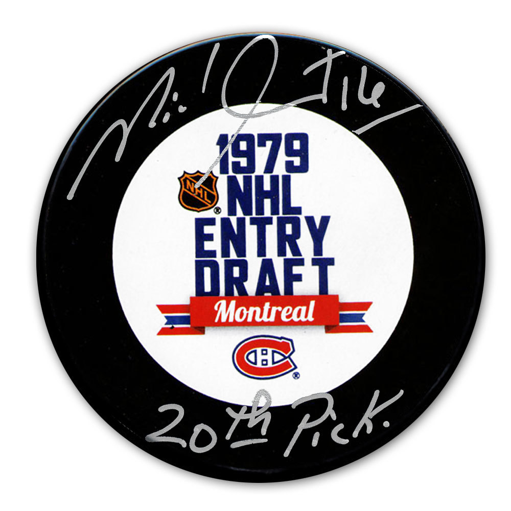 Michel Goulet 1979 NHL Draft Day 20th Pick Autographed Puck Quebec Nordiques