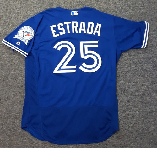 Photo of Authenticated Game Used Jersey - #25 Marco Estrada (July 30, 2016 vs BAL). Size 46