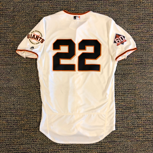 Photo of 2018 San Francisco Giants - 2018 Game Used Home Jersey worn by #22 Andrew McCutchen on 4/3/2018 vs. Seattle Mariners - 1-4