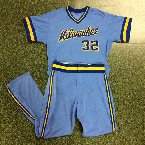 Photo of Jeremy Jeffress 1983 Throwback Uniform (Game-Used Jersey & Game-Used Pants)
