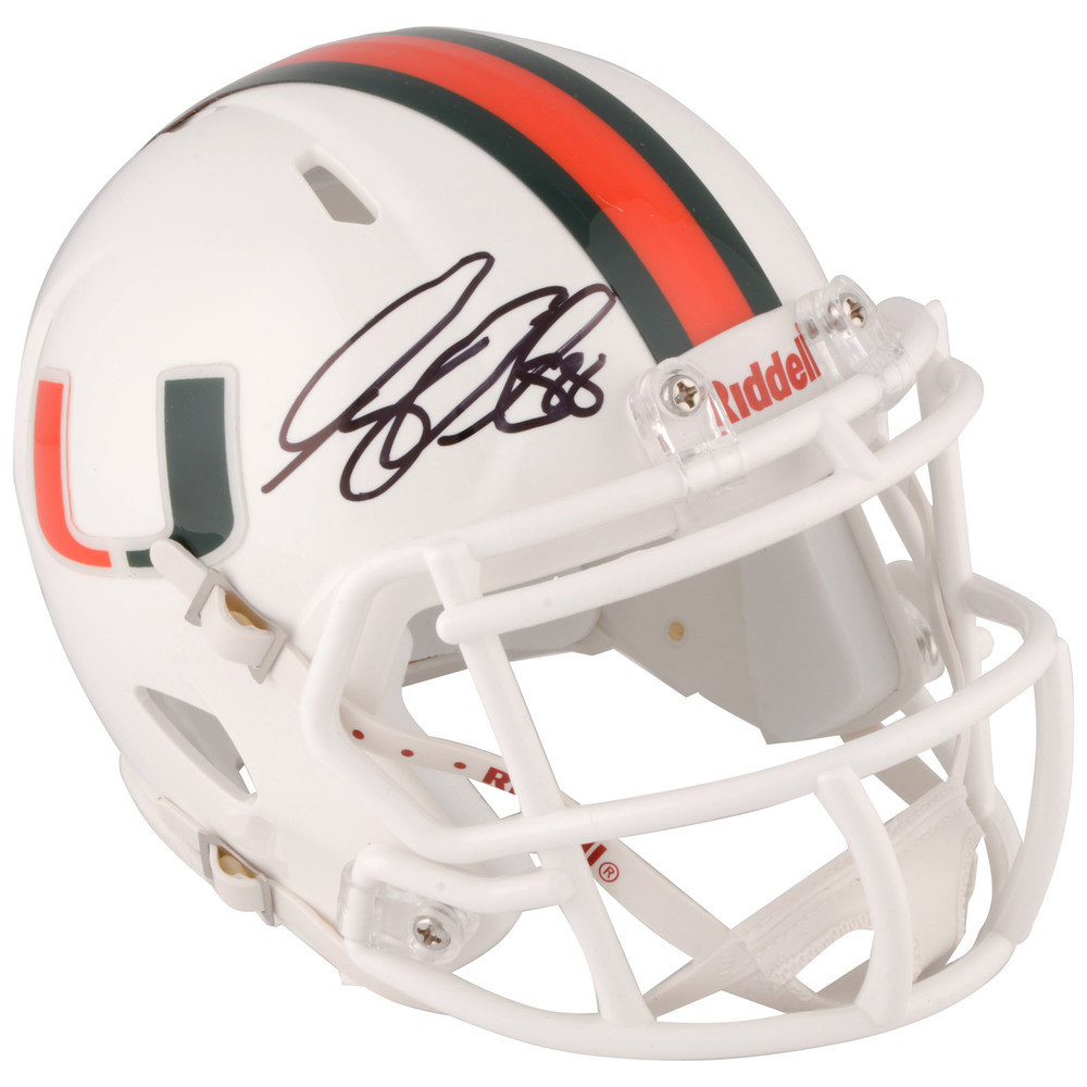 Greg Olsen Miami Hurricanes Autographed Riddell Speed Mini Helmet