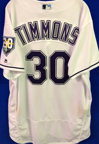 Photo of 20th Anniversary Game Used Devil Rays Jersey: Ozzie Timmons - September 8  v BAL