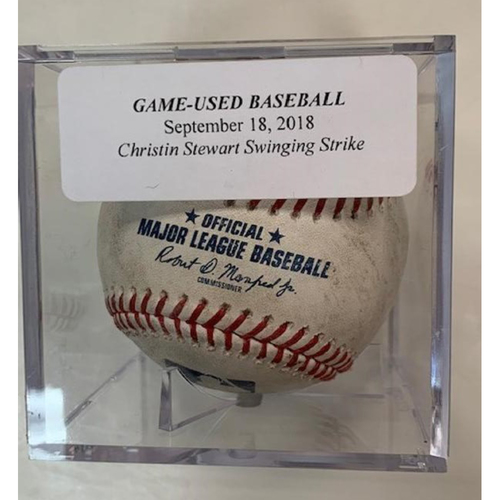 Photo of Game-Used Baseball: Christin Stewart Swinging Strike