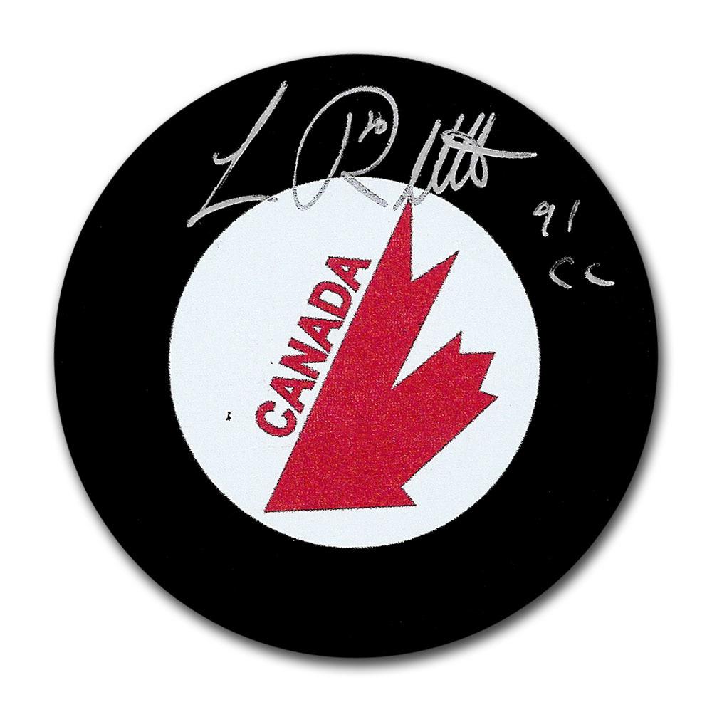 Luc Robitaille Autographed Team Canada Puck w/91 CC Inscription