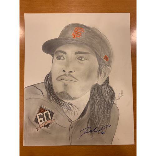 Photo of Giants End of Season Auction: Dereck Rodriguez Autographed Portrait Sketch