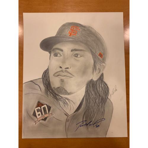 Photo of Giants End of Season Auction: Dereck Rodriguez Autographed Portrait Sketch
