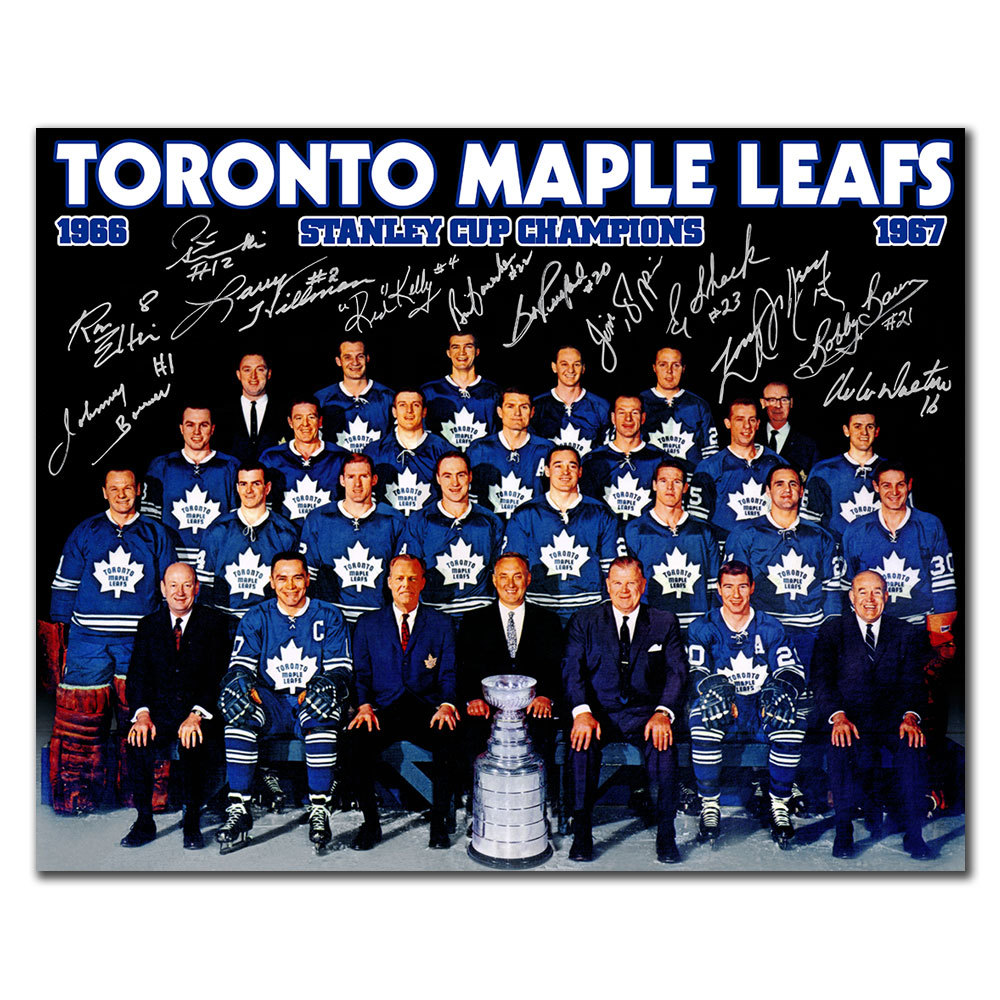 1967 Toronto Maple Leafs Stanley Cup Champions Team Autographed 16x20 Signed by 12