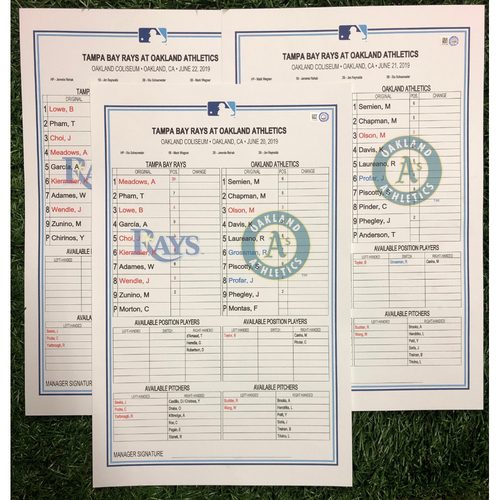 Photo of Replica LineUp Cards: June 20-22, 2019 at OAK
