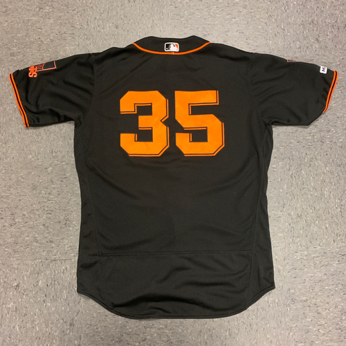 Photo of 2019 Game Used Black Home Alt Jersey worn by #35 Brandon Crawford on 8/31 vs. San Diego Padres - Size 48