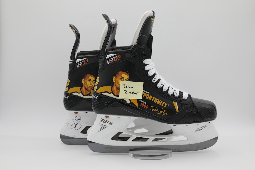 Willie O'Ree Custom Bauer Skates autographed and worn by Jason Zucker during pregame warmups - Pittsburgh Penguins