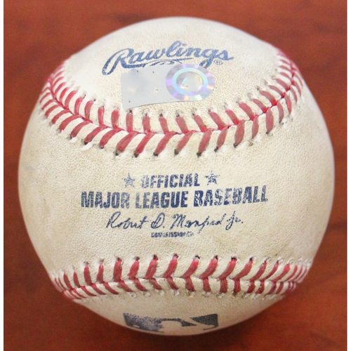Photo of Game-Used Baseball - Pitcher: Tyler Alexander | Batters: Tony Kemp 1B / Mark Canha 1B / Jed Lowrie RBI 1B / Ramon Laureano Ground Out / Matt Chapman Foul (Btm 7) 4/15/21 vs DET