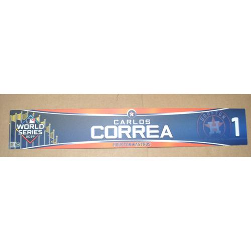 Photo of Game-Used Locker Name Plate - 2019 World Series Games 3, 4, 5 - Houston Astros vs. Washington Nationals - Carlos Correa (Houston Astros)