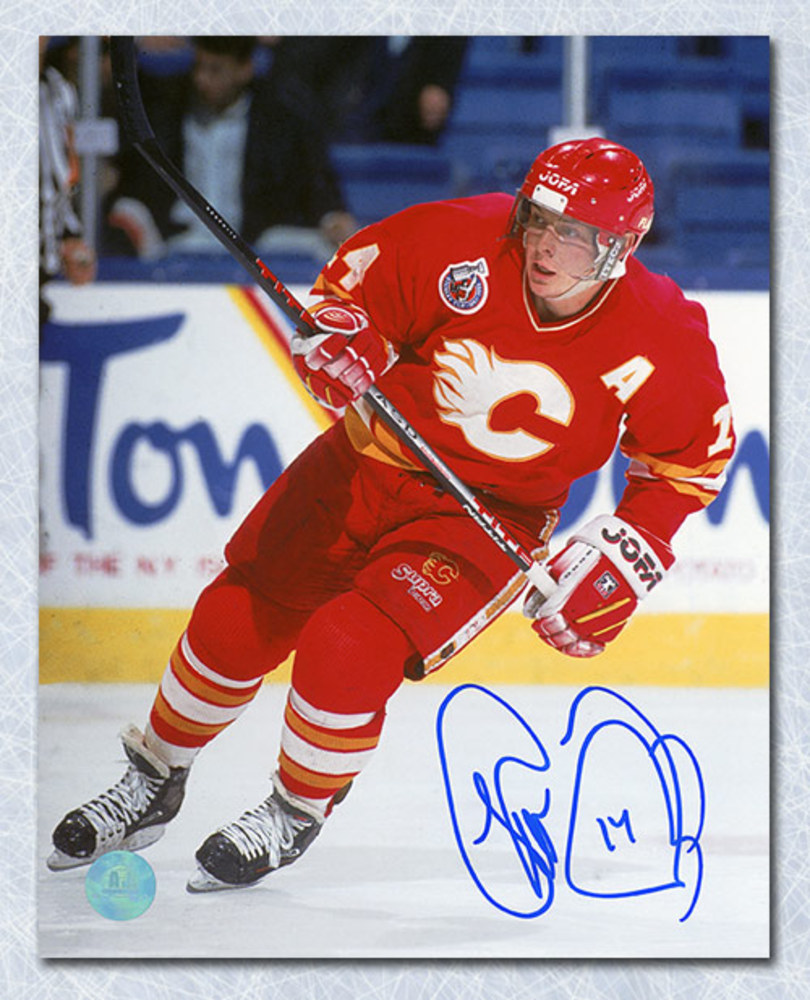 Theo Fleury Calgary Flames Autographed Action 16x20 Photo