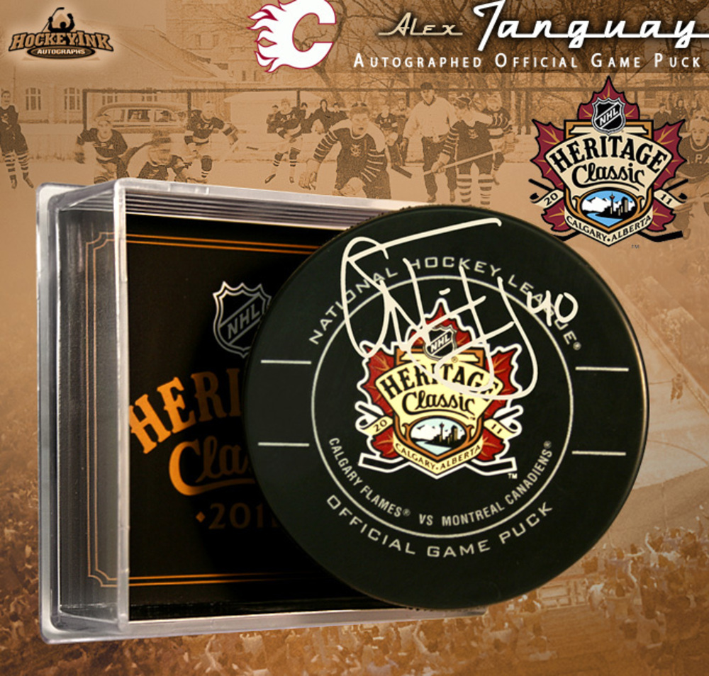 ALEX TANGUAY Signed 2011 NHL HERITAGE CLASSIC Official Game Puck