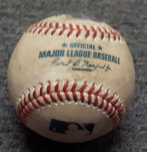 Photo of Authenticated Player Collected Baseball - #3 Ezequiel Carrera. Ezequiel Carrera from Matt Barnes. Bottom of 9th inning. Home Run #1 of the Season (Apr. 18, 2017)