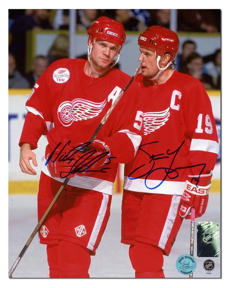 Steve Yzerman & Nicklas Lidstrom Detroit Red Wings Dual Signed 8x10 Photo