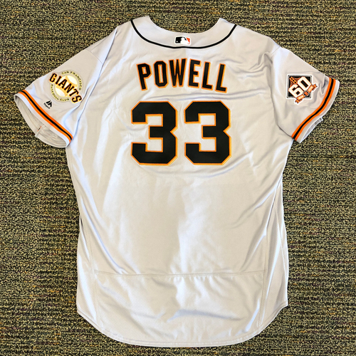 Photo of San Francisco Giants - 2018 Opening Day Team Issued Road Jersey - #33 Alonzo Powell - Jersey Size 52