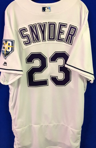 Photo of 20th Anniversary Game Used Devil Rays Jersey: Kyle Snyder - September 8 v BAL