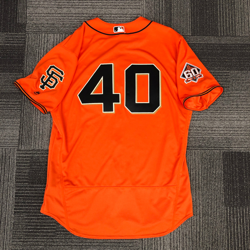 Photo of 2018 Game Used Orange Home Alternate Jersey worn by #40 Madison Bumgarner on July 13, 2018 vs. Oakland A's - 6.0 IP, 5 K's, WIN - Size 50