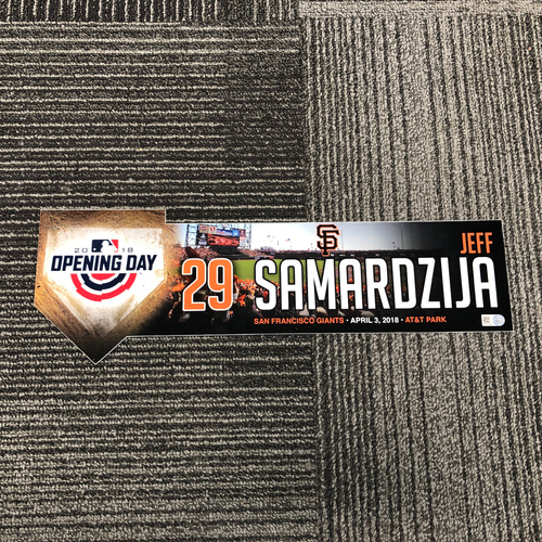 Photo of 2018 Opening Day Game Used Locker Tag - #29 Jeff Samardzija