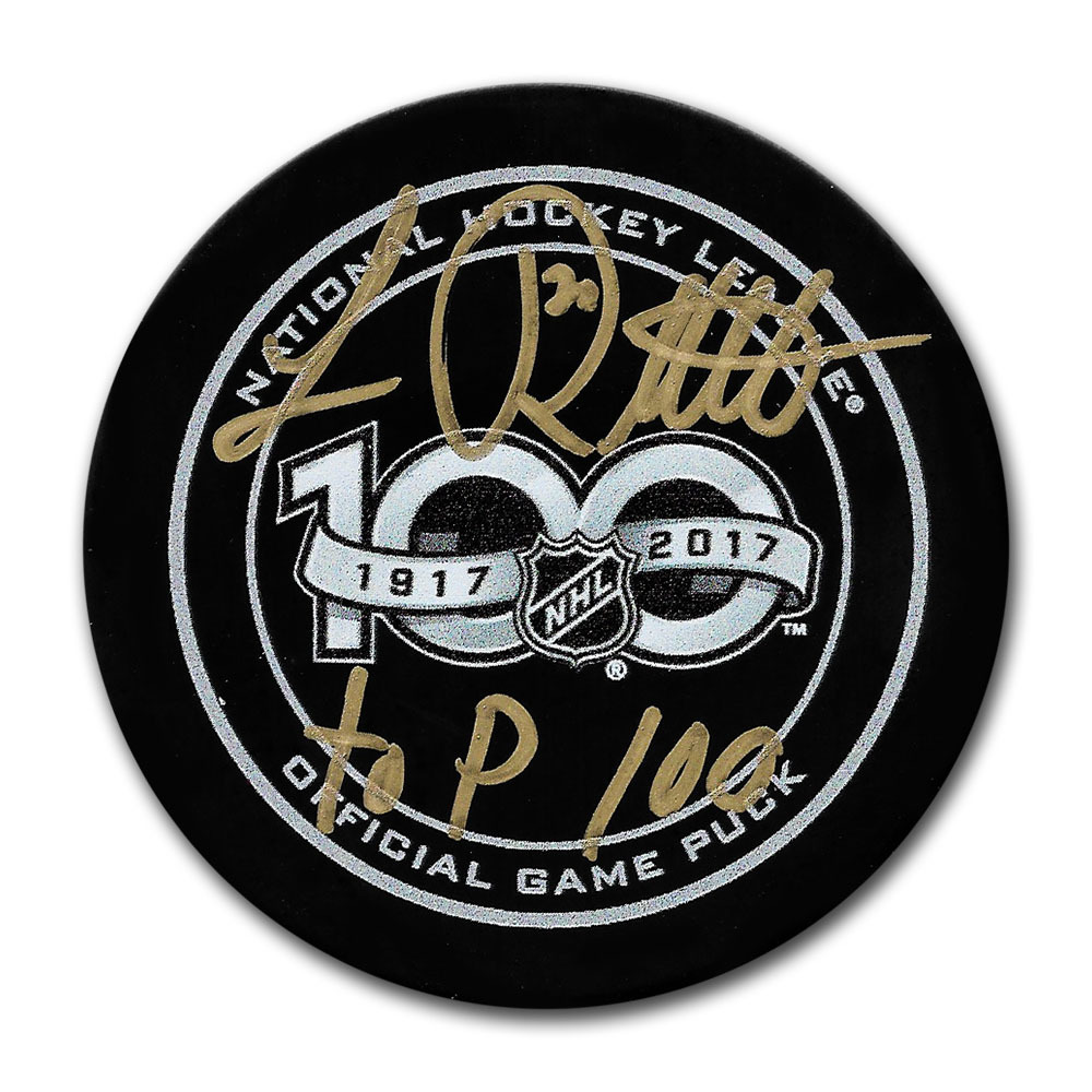 Luc Robitaille Autographed NHL 100 Official Game Puck w/TOP 100 Inscription