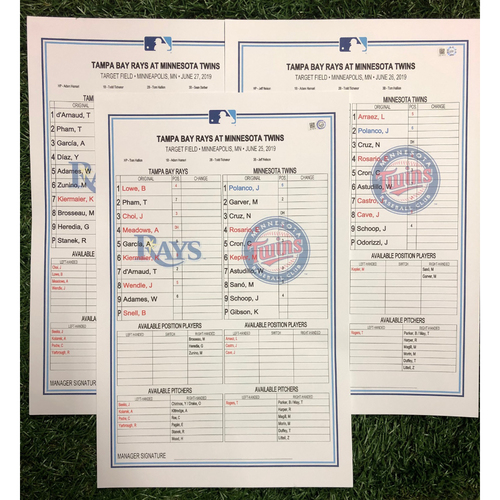 Replica LineUp Cards: June 25-27, 2019 at MIN